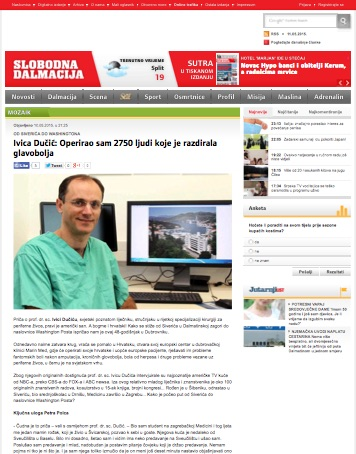 HR - Ivica Ducic - Operirao sam 2750 ljudi radi glavoboljom - Slobodna Dalmacija