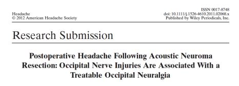 Postoperative Headache Ducic