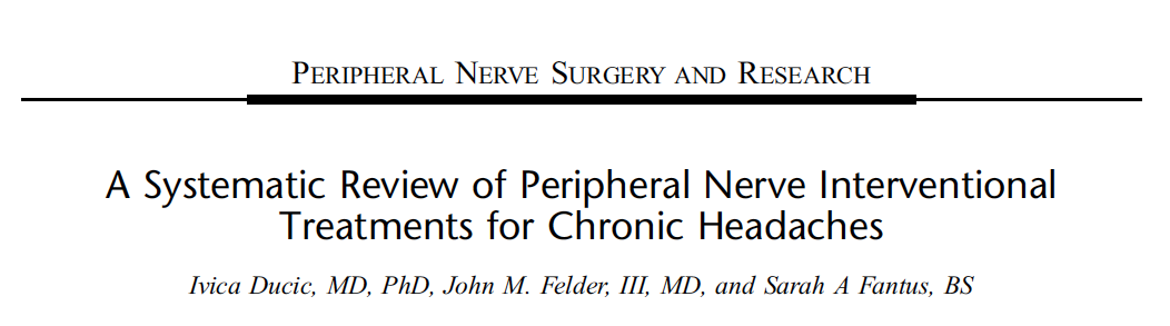 Systematic Review of Peripheral nerve Interventional