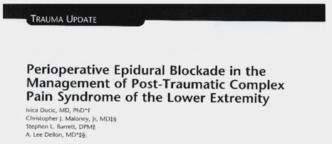 perioperative Epidural Blockade